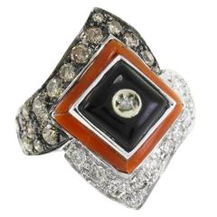 Luise Onyx Coral Fancy Brown Ring