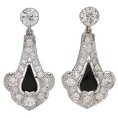 1920s Art Deco onyx and diamond earrings