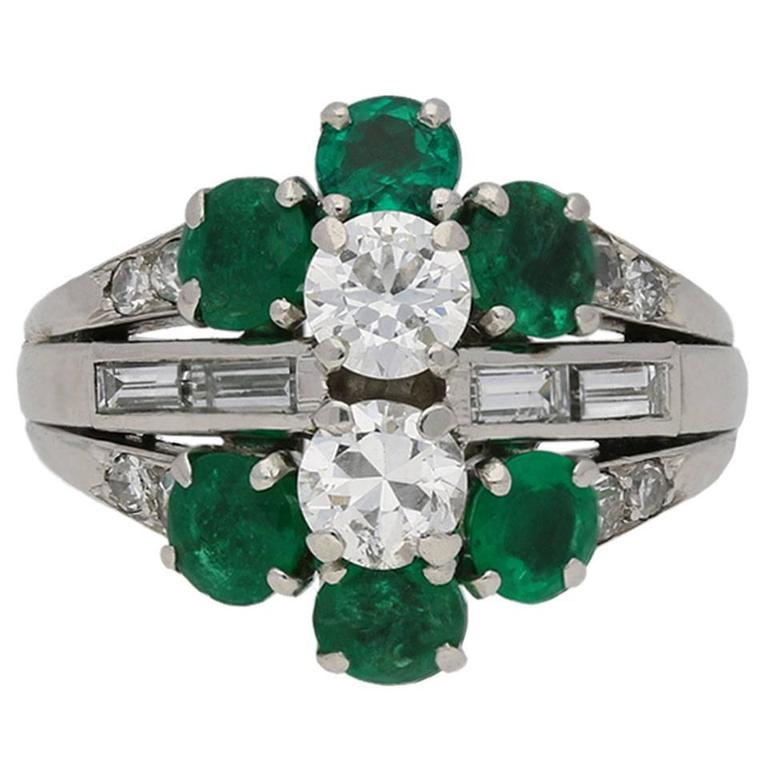 1950s French Emerald Diamond Cluster Ring