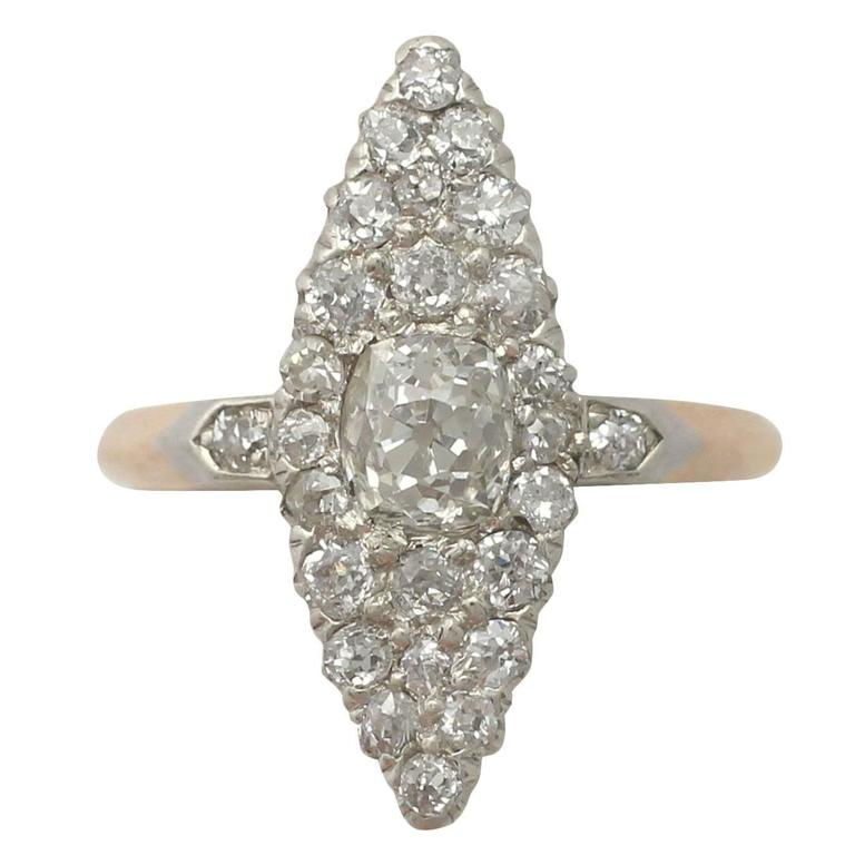 1900s 1.57 Carat Diamond and Yellow Gold Marquise Cocktail Ring