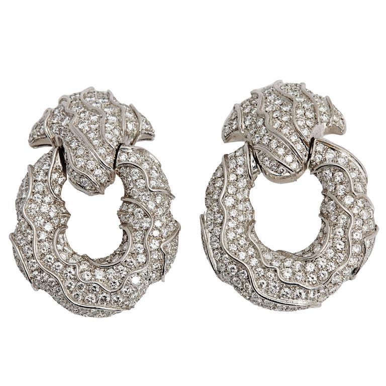 1980s Jahan Diamond Gold Ear Pendants