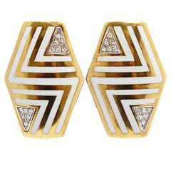 Italian Geometrical Enamel Diamond Earclips