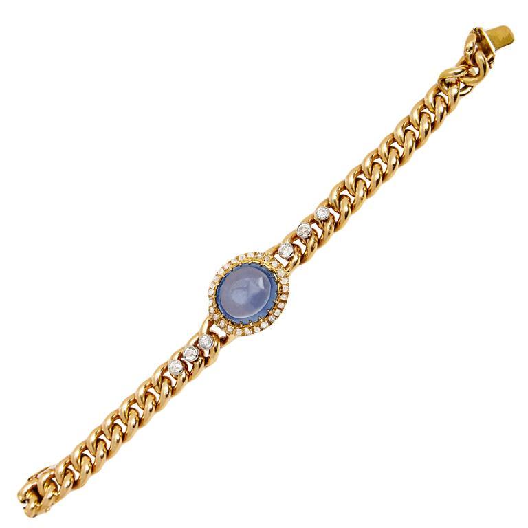 Antique Cabochon Sapphire Diamond Gold Link Bracelet