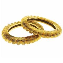 Tiffany & Co. Gold Brushed Finish Bangle Bracelet Set