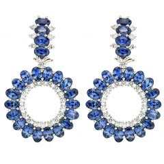 Valentin Magro Single Circle Oval Sapphire Diamond Platinum Earrings