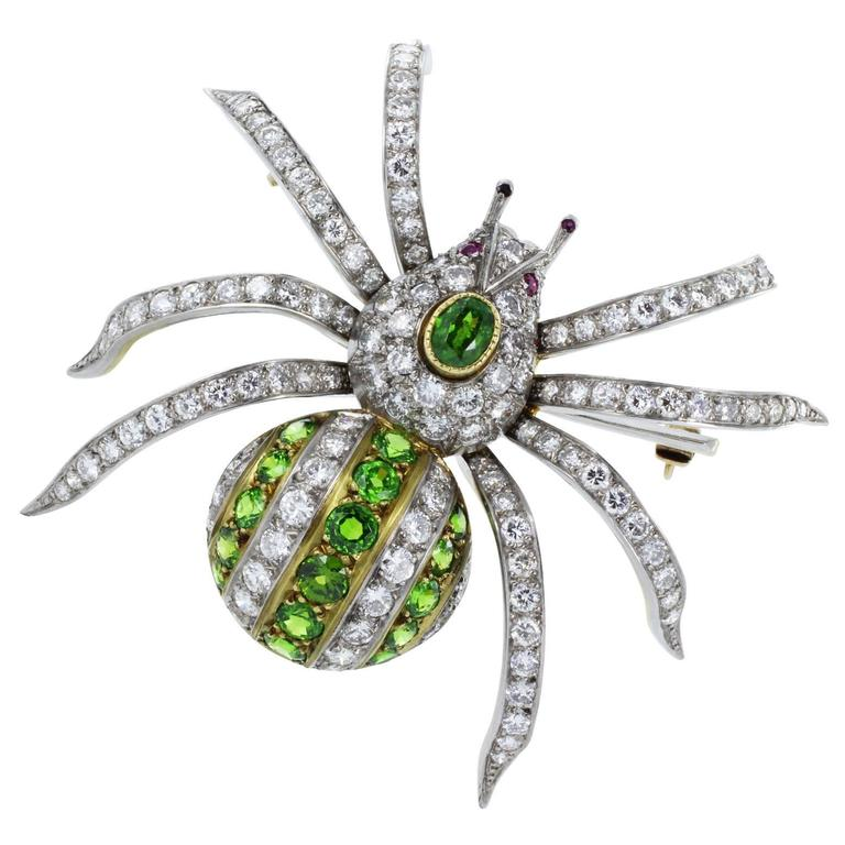 Demantoid Garnet Diamond Gold Spider Pin