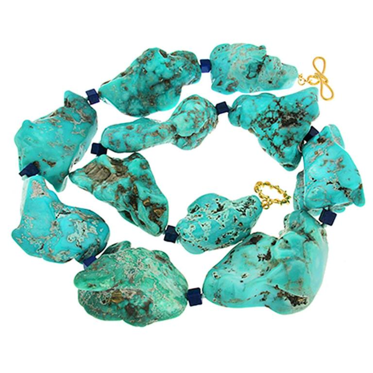 Valentin Magro Large Turquoise Nuggets and Lapis Lazuli Cubes Statement Necklace