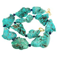 Large Turquoise Nuggets and Lapis Lazuli Cubes Necklace