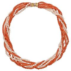Coral Bead and Seed Pearl Torsade Necklace