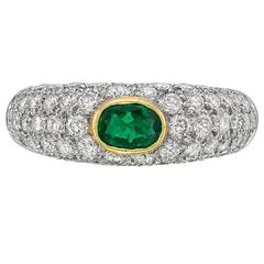 Emerald Diamond Gold Platinum Domed Band Ring