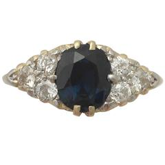 1920s 2.95 Carat Sapphire and Diamond Yellow Gold Cocktail Ring