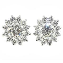 Large 8.25 Carats Diamonds Gold Omega Back Stud Earrings