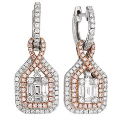 Pink Diamond Two Color Gold Drop Earrings