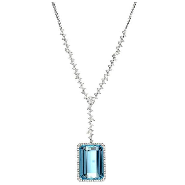 Aquamarine Diamond Gold Necklace  1