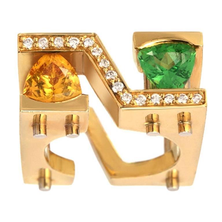 Green Yellowish Orange Sapphire Diamond Gold Cocktail Ring