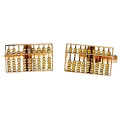 Abacus 3 Dimensional Movable Gold Cufflinks