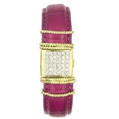 Cassis Diamond 18 Karat Yellow Gold Hot Pink Alligator Bracelet