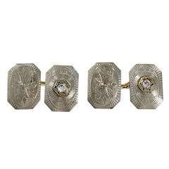 Diamond Top Engraved Platinum Gold Cufflinks
