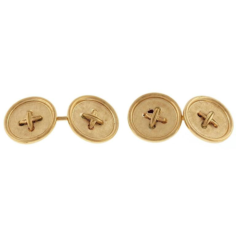 Gold Double Sided Button Style Cufflinks