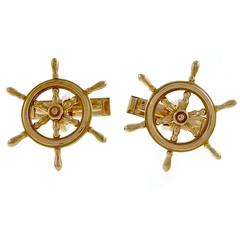 1960s B.A. Ballou Ship's Wheel Gold Cufflinks