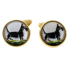 Quartz Crystal Hand Painted Carved Scotty Dog Gold Cufflinks