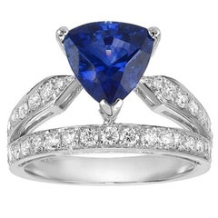 GIA Certified Ceylon Sapphire Diamond Gold Ring