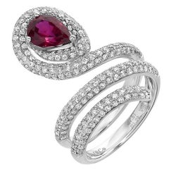GIA Certified Ruby Diamond Serpentine Gold Ring
