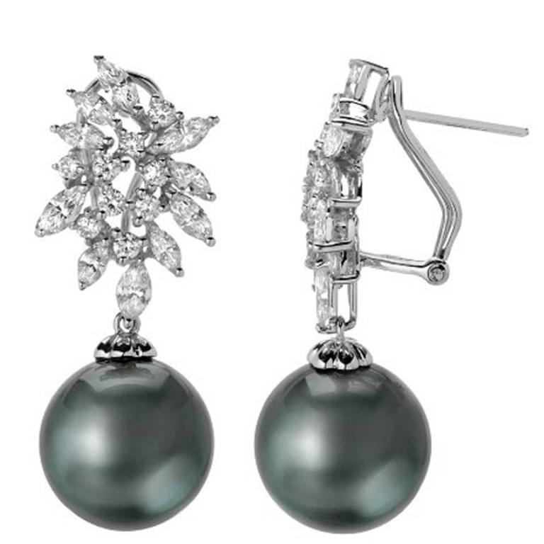 7d8db32db Tahitian Pearl & Diamond Cluster Drop Dangle Earrings in Gold For Sale