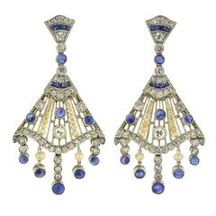 Contemporary Pearl Sapphire Diamond Chandelier Earrings