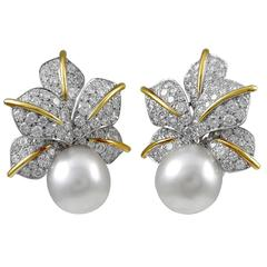South Sea Pearl Diamond Earclips