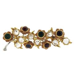 Buccellati Sapphire Emerald Rose Cut Diamond Rose Gold  Brooch
