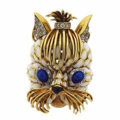 1960s Enamel Diamond Gold Yorkie Dog Brooch Pin