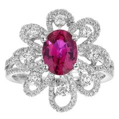 Burmese Ruby Diamond Gold Ring