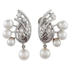Retro Pearl Diamond Gold Screw Back Earrings
