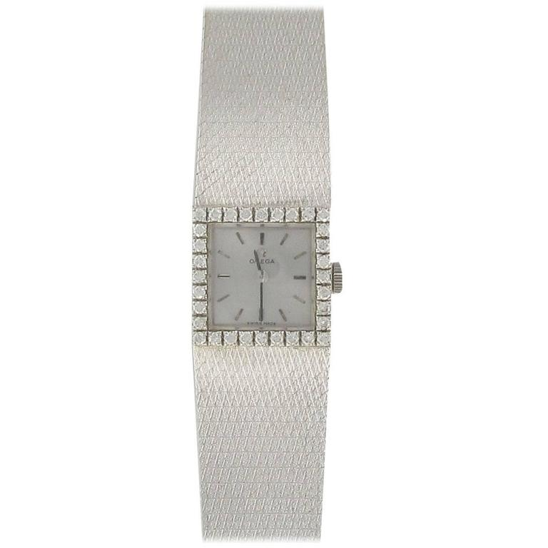 Omega Deville Ladies White Gold Diamond Wristwatch