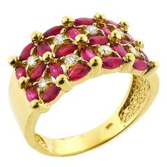1970s Ruby Diamond Gold Basketweave Style Ring