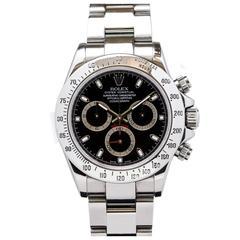 Rolex Stainless Steel Daytona Black Dial Automatic Wristwatch Ref 116520