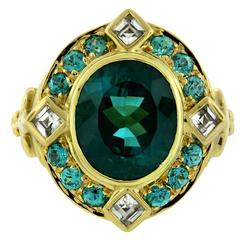 Crevoshay Sophisticated Handmade Tourmaline Zircon Gold Ring