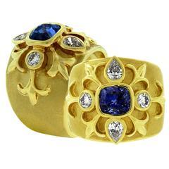 Crevoshay Stately Handmade Ceylon Sapphire Diamond Gold Ring