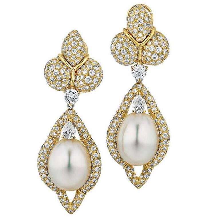 Henry Dunay Cultured Pearl Diamond Gold Drop Earrings For Sale