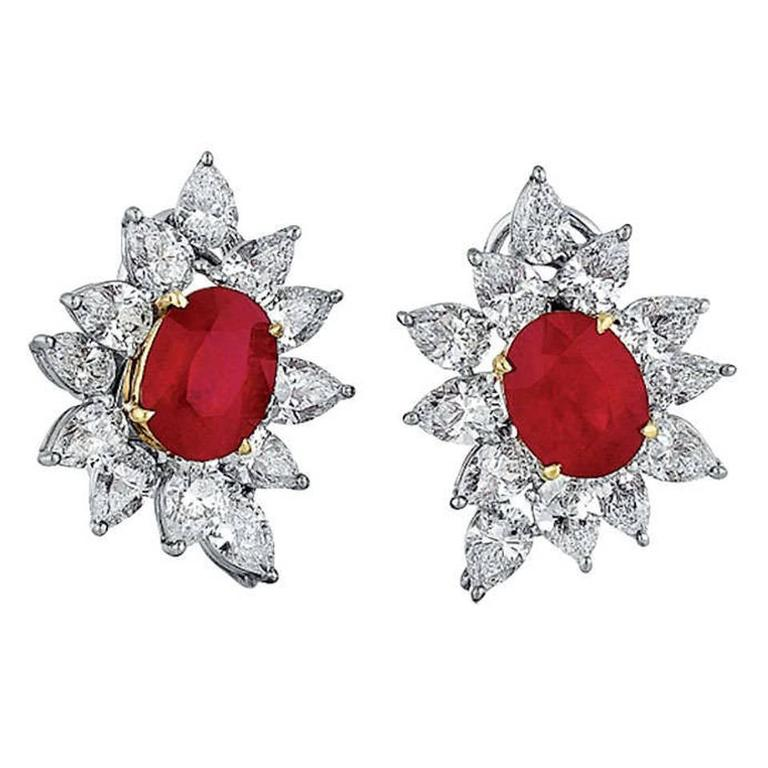 Burmese Ruby Diamond Gold Platinum Earrings For Sale