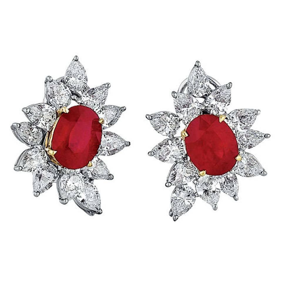 Burmese Ruby Diamond Gold Platinum Earrings