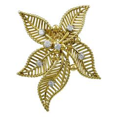 Cartier Paris Diamond Gold Flower Brooch