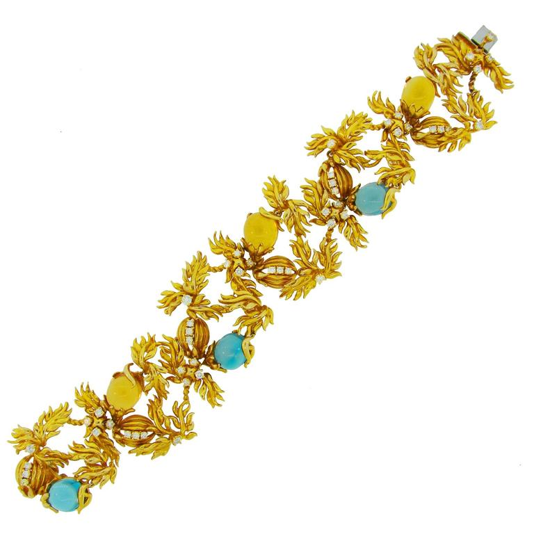 1980s Cartier A. Cipullo Citrine Topaz Diamond Gold Floral Motif Bracelet