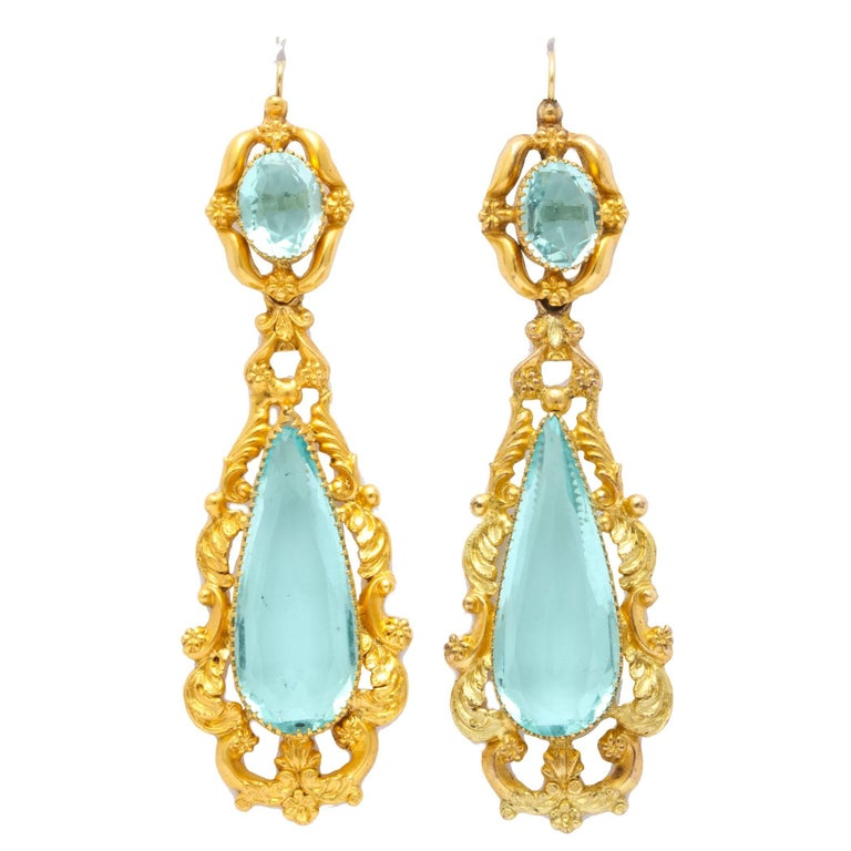 Antique Brilliant Georgian Aqua Paste and Pinchbeck Earring For Sale
