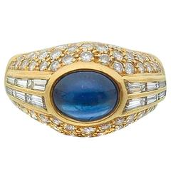 Cartier Sapphire Diamond Gold Gypsy Ring