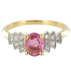New Modern Pink Sapphire Diamond Gold Platinum Ring