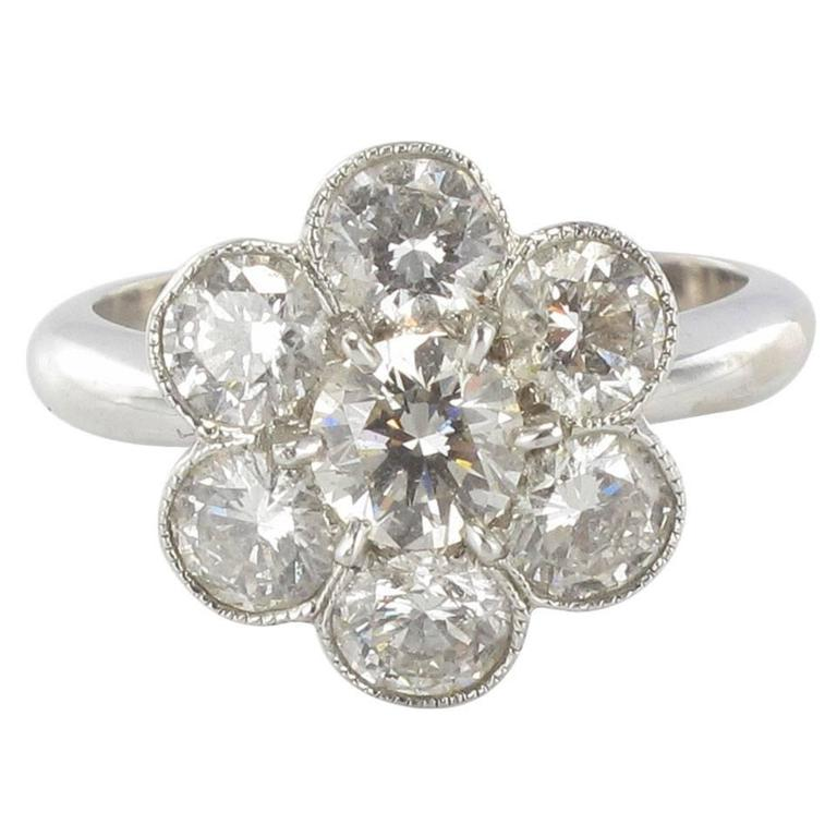 Contemporary Diamond Gold Cluster Ring For Sale