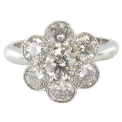 Contemporary Diamond Gold Cluster Ring