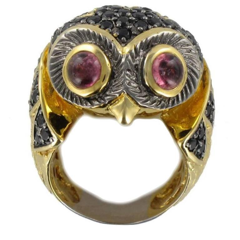 New Black Spinel and Tourmaline Cabochon Owl Ring For Sale